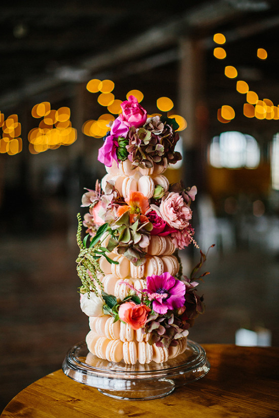 Macaron cake tower with florals