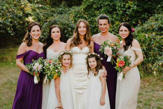 purple and champagne bridesmaids dresses