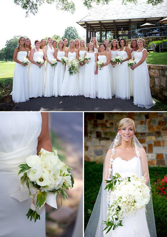 Bridesmaids in white floor length dresses