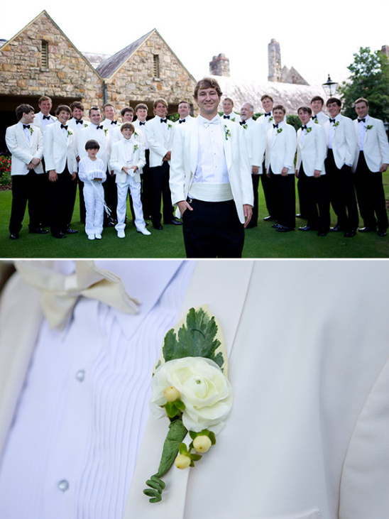 Groomsmen in white and black