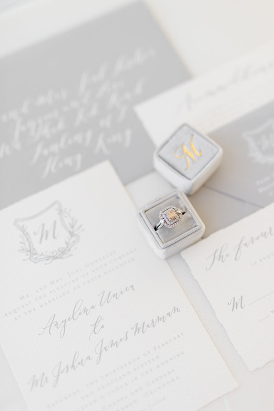 grey and white wedding stationery and ring box