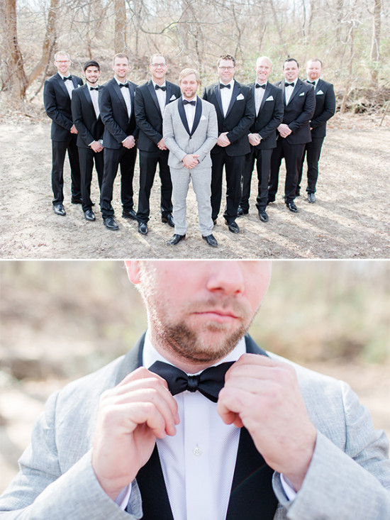 classic black groomsmen with bowties