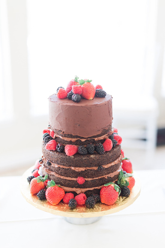 chocolate and berry wedding cake