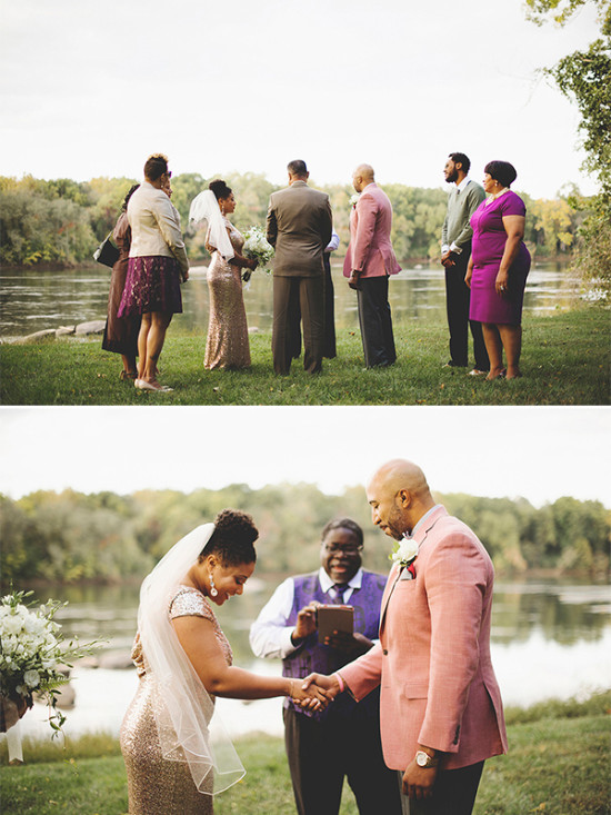 intimate wedding ceremony by the lake