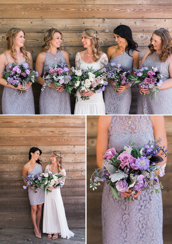 Bridesmaids in purple with matching bouquets