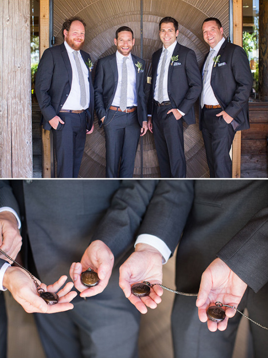 Groomsmen with custom pocket watches