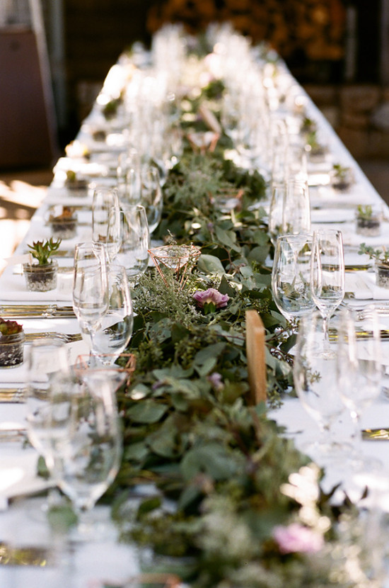 Romantic greenery table runner idea
