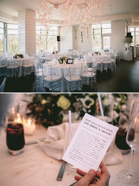 modern chic engagement party decor with fun party game