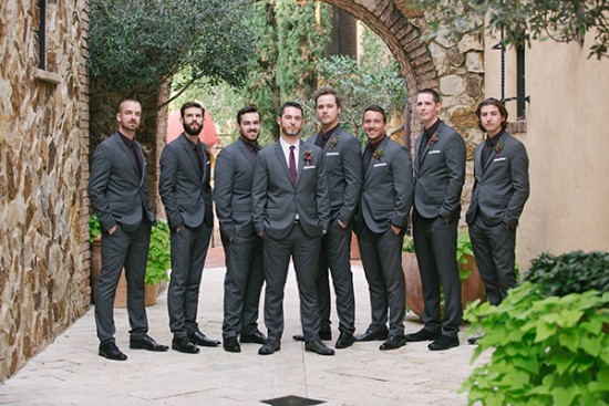 Groomsmen in dark gray