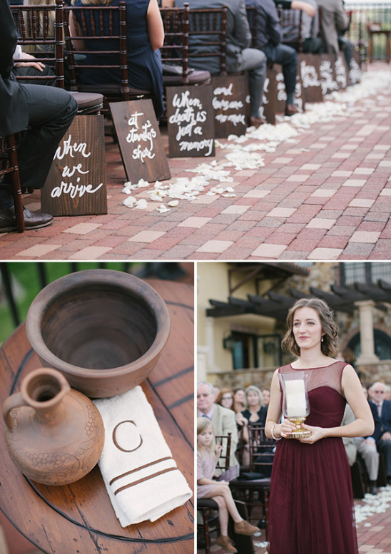 Wine themed wedding ceremony details