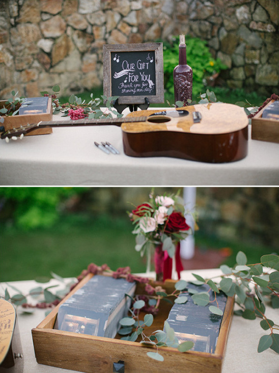 Guitar guestbook and favor table