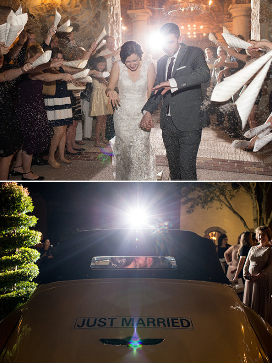 Wedding exit with lavender and vintage car