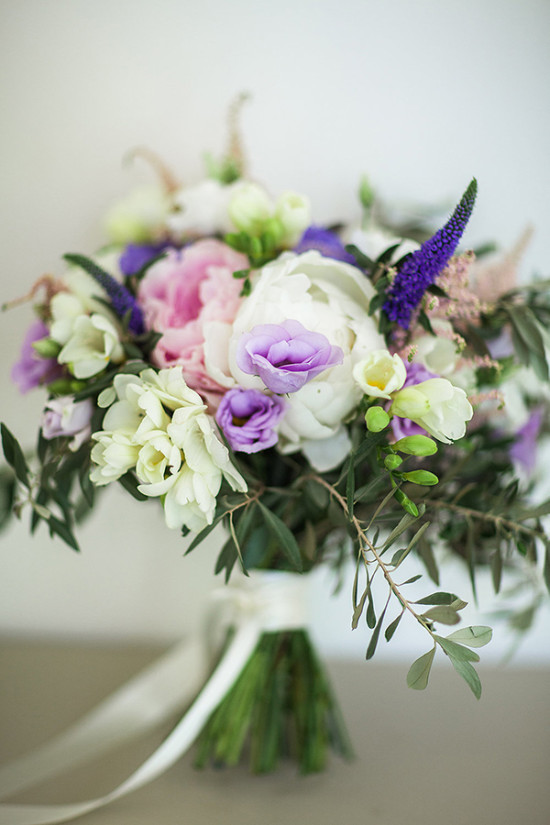 white pink and purple wedding bouquet