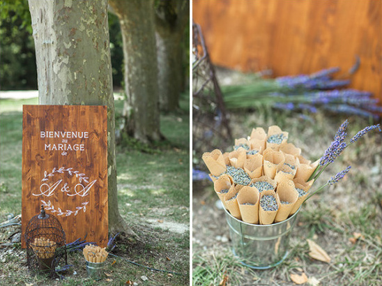 wedding sign and lavendar confetti cones