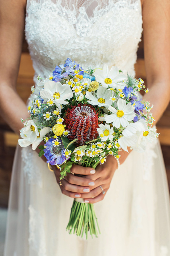 Pretty blue and yellow wedding bouquet