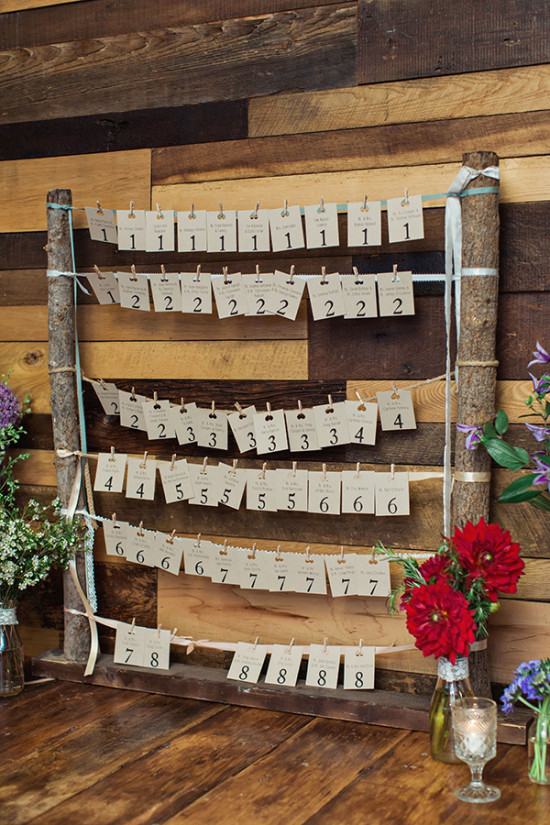 Rustic wood seating chart with tags