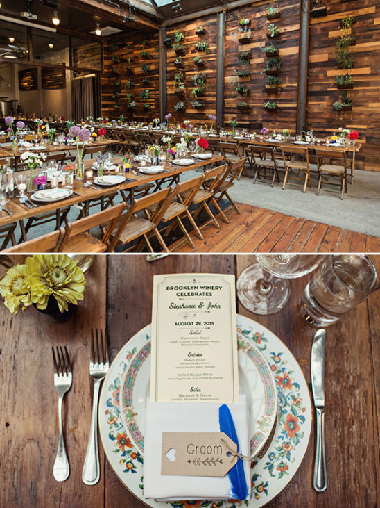 Rustic reception decor with vintage dishes