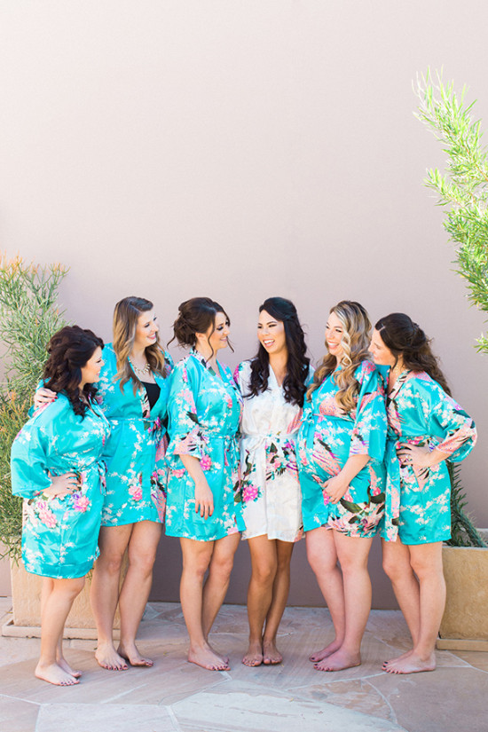 Floral bridesmaid robes in blue