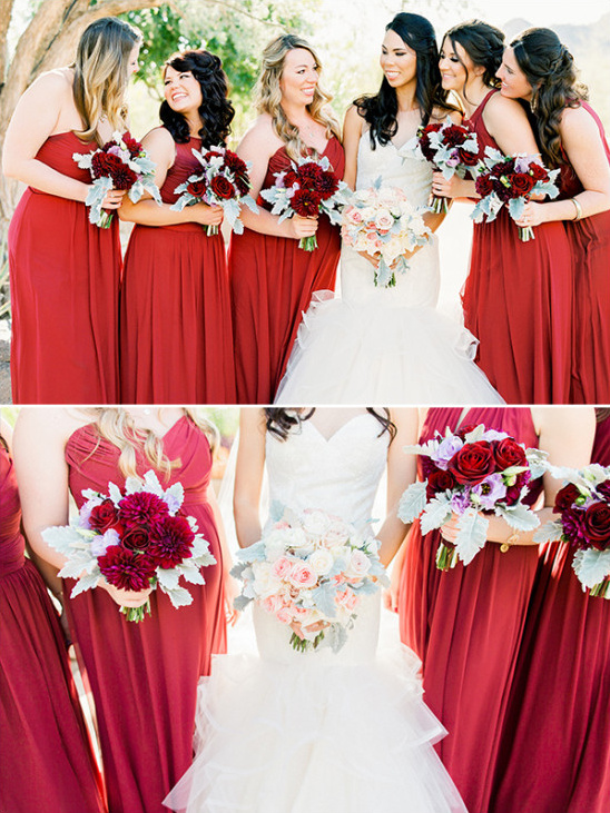 Bridesmaids in red with matching bouquets