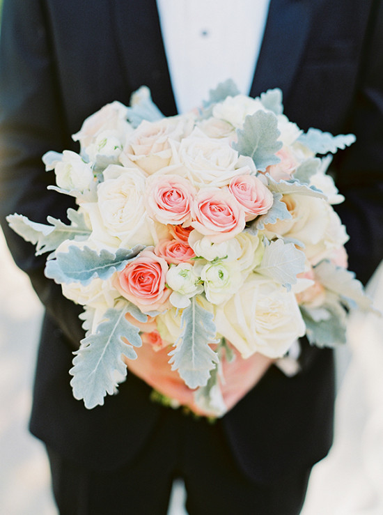 Pink green and ivory bridal bouquet