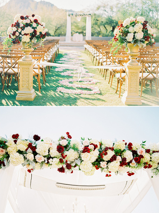 Red and white ceremony decor and details