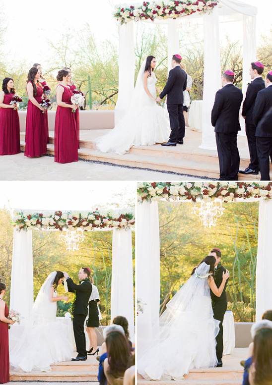 Ceremony details in red and ivory