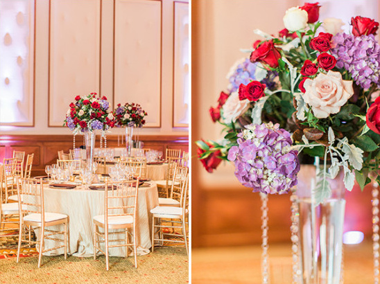 Purple and red table decor