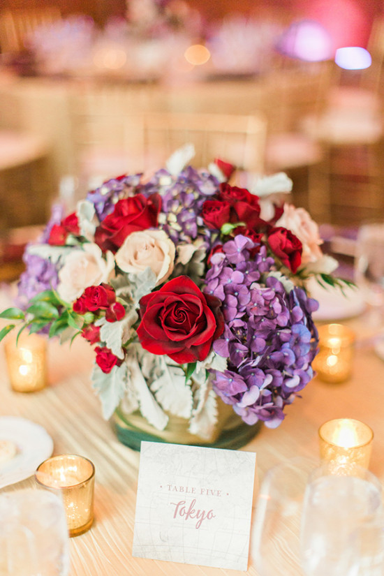 Purple and red table centerpiece idea