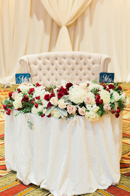 Sweetheart table with florals