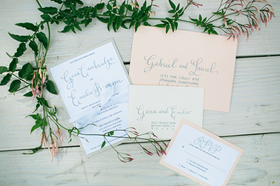 pastel peach and blue wedding invites
