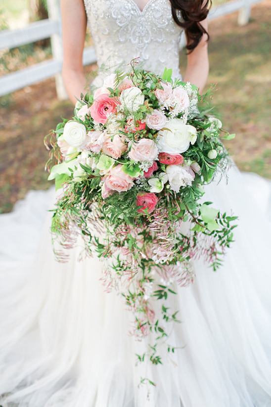 Pink And White Cascading Bouquets