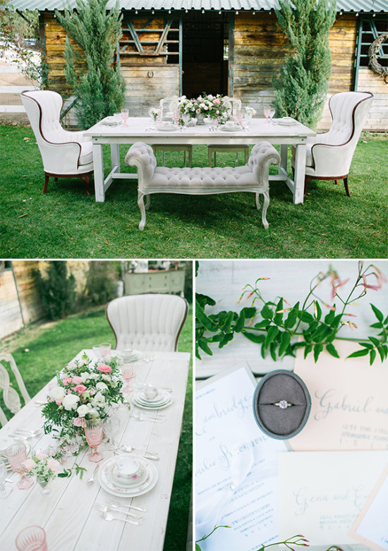 sweet white and pink reception table