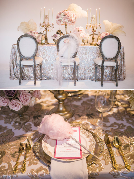 luxurious glam pink and gold wedding