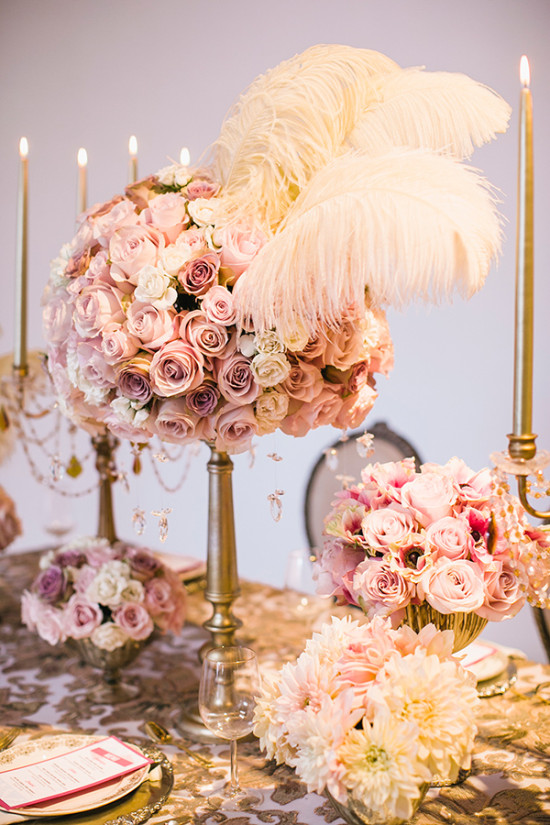 rose and feather centerpiece