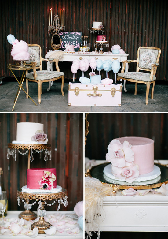 cake and cotton candy table