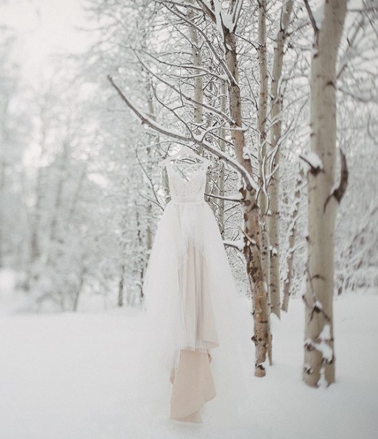 Wedding dress in the snow