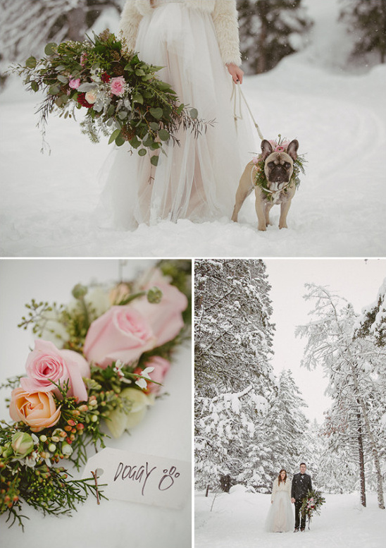 Snowy winter wedding details for the dog