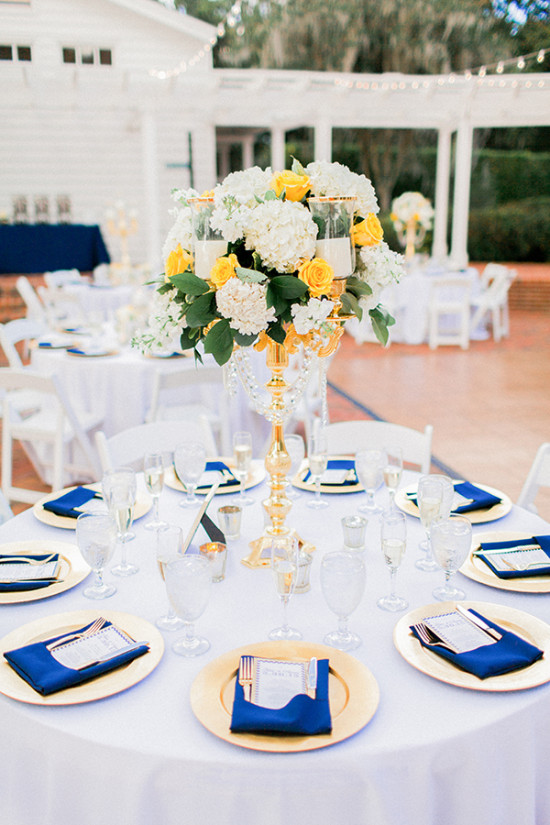 gold white and blue table decor