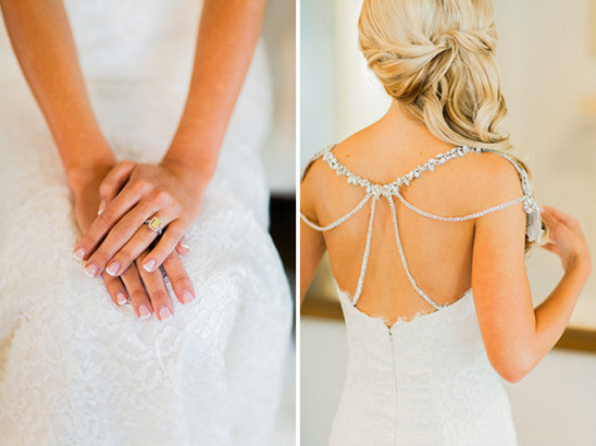 yellow diamond ring and Hayley Paige wedding dress