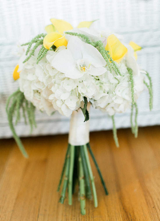 white yellow and green wedding bouquet