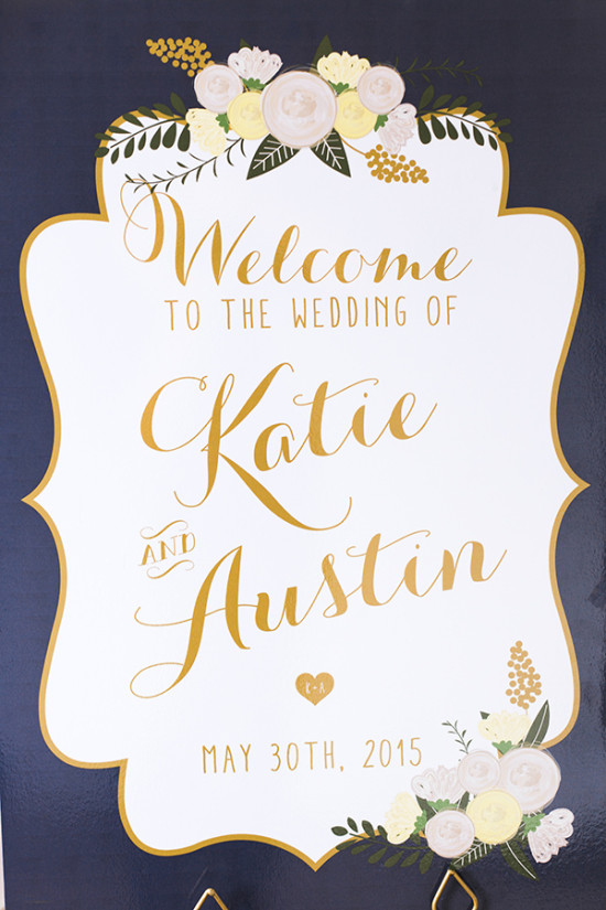 blue and gold wedding sign