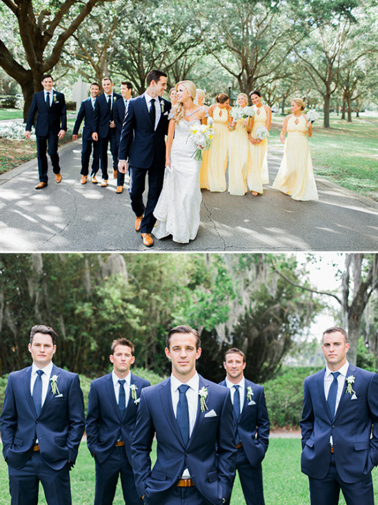 blue and yellow wedding party
