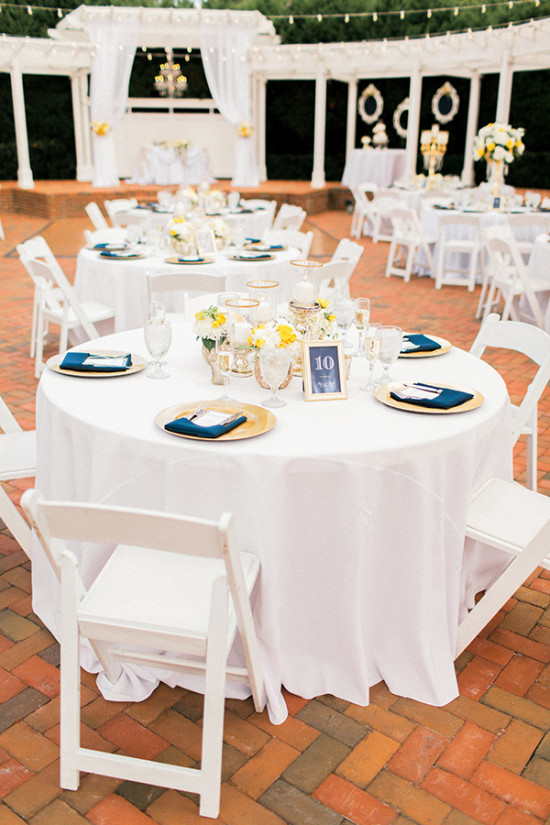 glam gold and blue wedding reception