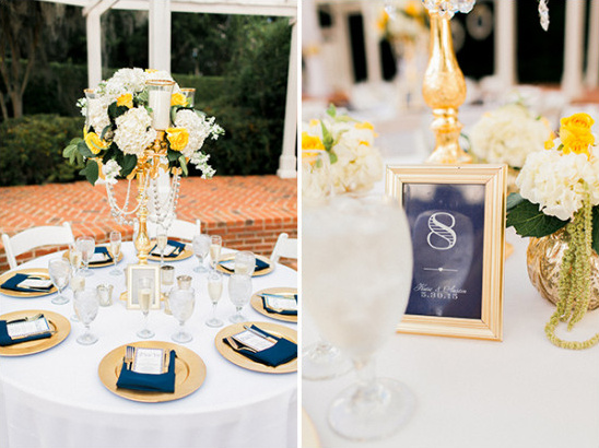 navy and gold table decor and table number
