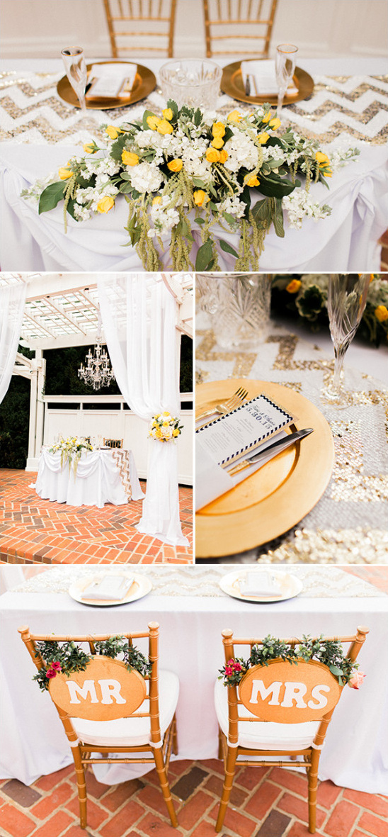 gold and white sweetheart table