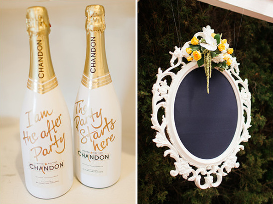 champagne and framed chalkboard decor