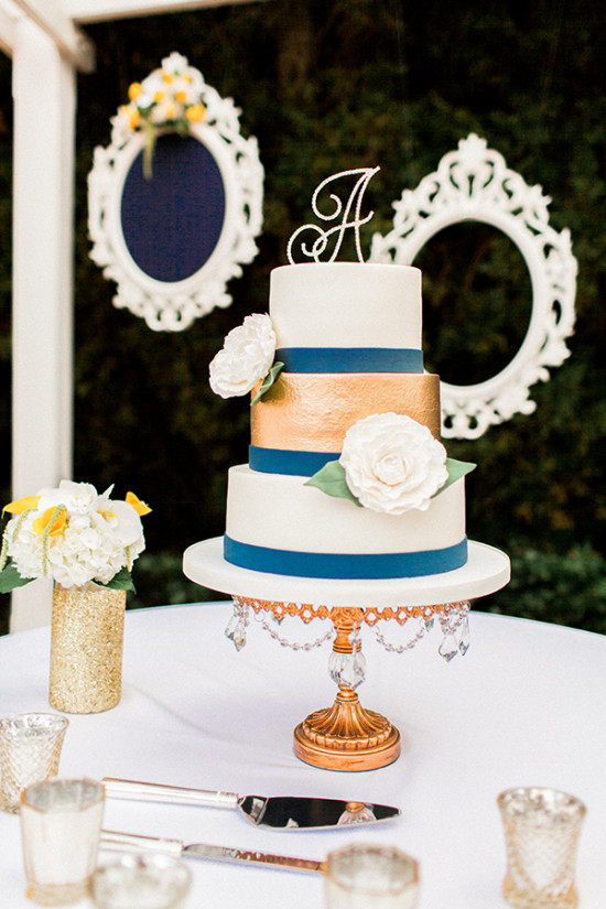 chic gold and blue wedding cake