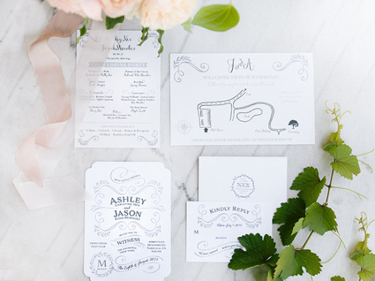 Simple wedding invitation suite