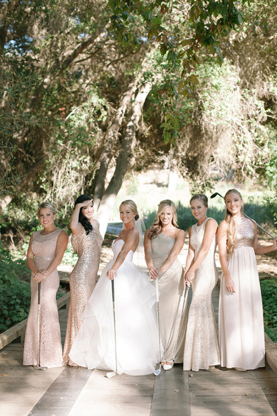 Bridesmaids and golf clubs