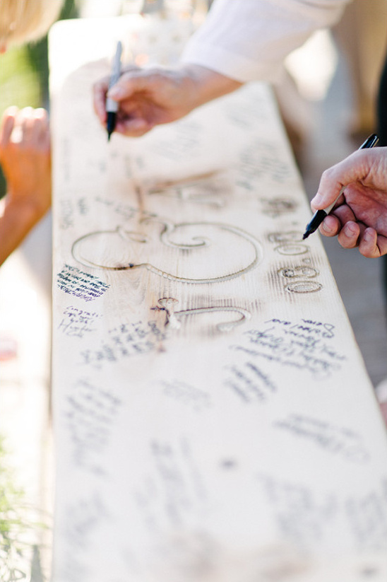 Custom bench guestbook idea